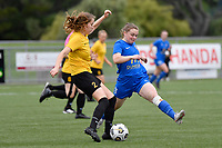 Hope Gilchrist of Capital competes for the ball with Samantha Murrell of Southern during the Handa Women's Premiership - Capital Football v Southern United at Petone Memorial Park, Wellington on Saturday 7 November 2020.<br /> Copyright photo: Masanori Udagawa /  www.photosport.nz