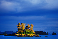 Islands in golden sunshine in Northern Prince William Sound, Alaska.