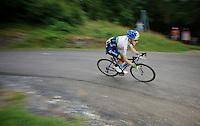 Adam Yates (GBR/Orica-GreenEDGE) descending the Col de Chaussy (C1/1533m/14.4km@6.3%)<br /> <br /> stage 19: St-Jean-de-Maurienne - La Toussuire / Les Sybelles   (138km)<br /> Tour de France 2015