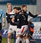 Mark Beck (L) celebrates his goal for Falkirk
