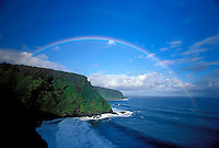 Morning rainbow on the road to Hana, Maui near Keanae.