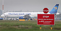 22/11/11 TODAY PHOTO...A Thomas Cook plane sits on the runway at East Midlands Airport today...Shares at holiday giant Thomas Cook were in freefall today as it postponed the publication of its full-year results due to discussions with its banks over debts of almost £1 billion. ..All Rights Reserved - All Rights Reserved - F Stop Press  - T: +44 (0)1335 324700.Local copyright law applies to all print & online usage. Fees charged will comply with standard space rates and usage for that country, region or state.