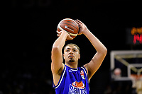 Taane Samuel of the Wellington Saints shoots the ball during the NBL match between the Wellington Saints and the Auckland Huskies at TSB Bank Arena, Wellington, New Zealand on Friday 28 May 2021.<br /> Photo by Masanori Udagawa. <br /> www.photowellington.photoshelter.com