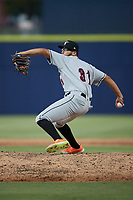 Fayetteville Woodpeckers relief pitcher Alex Santos II (31) in action against the Kannapolis Cannon Ballers at Atrium Health Ballpark on June 22, 2021 in Kannapolis, North Carolina. (Brian Westerholt/Four Seam Images)
