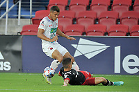 WASHINGTON, DC - JULY 7: Joseph Mora #28 of D.C. United battles for the ball with Jurguens  Montenegro #7 of Liga Deportiva Alajuense during a game between Liga Deportiva Alajuense  and D.C. United at Audi Field on July 7, 2021 in Washington, DC.