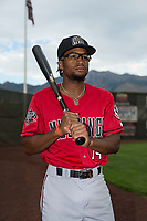 Billings Mustangs outfielder Satchel McElroy (14) poses for a photo prior to a Pioneer League game against the Ogden Raptors at Lindquist Field on August 17, 2018 in Ogden, Utah. The Billings Mustangs defeated the Ogden Raptors by a score of 6-3. (Zachary Lucy/Four Seam Images)