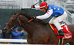 """October 02, 2015:  Runhappy and jockey Edgar Prado win the 163rd running of the Stoll Keenon Ogden Phoenix (Grade 3) $250,000 """"Win and You're In Sprint Division"""" at Keeneland for trainer Maria Borell and owner James McIngvale.  Candice Chavez/ESW/CSM"""