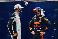 28th August 2021; Spa Francorchamps, Stavelot, Belgium: FIA F1 Grand Prix of Belgium, qualifying sessions;  F1 Grand Prix of Belgium 63 George Russell GBR, Williams Racing, 33 Max Verstappen NED, Red Bull Racing