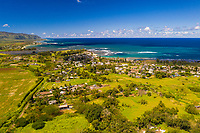 Aerial view of Hale'iwa Town with Mount Ka'ala in the distance, North Shore of O'ahu.
