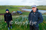 Alfie Hughes (front right) from Castlegregory with Breda Moriarty of the Local Authority Waters Programme at the site of the clearing and removal of Pygmyweed infestation in the lakes near the Castlegregory Golf Club on Tuesday.