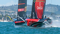 15th March 2021; Waitemata Harbour, Auckland, New Zealand;  Luna Rossa Prada Pirelli Team and Emirates Team New Zealand start manouvers for race seven on day five of the America's Cup presented by Prada