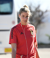 20200310  Lagos , Portugal :Belgian Justine Vanhaevermaet (10) pictured prior to the female football game between the national teams of Belgium called the Red Flames and Denmarkl on the third and last matchday for the 5th or 6th place of the Algarve Cup 2020 , a prestigious friendly womensoccer tournament in Portugal , on tuesday 10 th March 2020 in Lagos , Portugal . PHOTO SPORTPIX.BE | DAVID CATRY