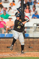 Carlos Munoz (22) of the Bristol Pirates at bat against the Johnson City Cardinals at Howard Johnson Field at Cardinal Park on July 6, 2015 in Johnson City, Tennessee.  The Pirates defeated the Cardinals 2-0 in game one of a double-header. (Brian Westerholt/Four Seam Images)