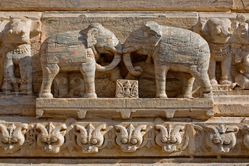 Carved ELEPHANTS decorate the JAGDISH TEMPLE which was built in 1651by Maharaja Jagat Singh in honor of Vishnu as Jagannath - UDAIPUR, RAJASTHAN, INDIA
