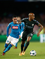 Football Soccer: UEFA Champions League Napoli vs Mabchester City San Paolo stadium Naples, Italy, November 1, 2017. <br /> Manchester City's Fabian Delph (r) in action with José Callejon (l) during the Uefa Champions League football soccer match between Napoli and Manchester City at San Paolo stadium, November 1, 2017.<br /> UPDATE IMAGES PRESS/Isabella Bonotto