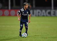 LAKE BUENA VISTA, FL - AUGUST 01: Maximillano Moralez #10 of New York City FC looks for options with the ball during a game between Portland Timbers and New York City FC at ESPN Wide World of Sports on August 01, 2020 in Lake Buena Vista, Florida.