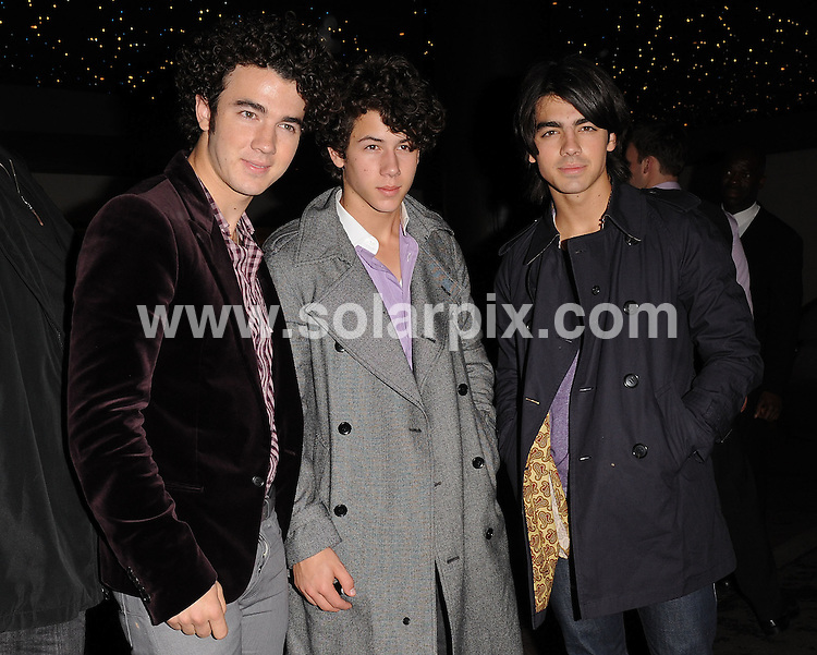 **ALL ROUND PICTURES FROM SOLARPIX.COM**.**WORLDWIDE SYNDICATION RIGHTS**.The Jonas Brothers out on the town in London..JOB REF:    7540   SSD-ATM     DATE: 07.10.08.**MUST CREDIT SOLARPIX.COM OR DOUBLE FEE WILL BE CHARGED* *UNDER NO CIRCUMSTANCES IS THIS IMAGE TO BE REPRODUCED FOR ANY ONLINE EDITION WITHOUT PRIOR PERMISSION*
