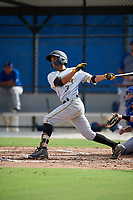 Pittsburgh Pirates Adrian Valerio (3) follows through on a swing during an Instructional League game against the Toronto Blue Jays on October 14, 2017 at the Englebert Complex in Dunedin, Florida.  (Mike Janes/Four Seam Images)