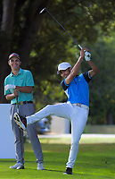 Liam Finlayson and James Tauariki. Day two of the Jennian Homes Charles Tour / Brian Green Property Group New Zealand Super 6's at Manawatu Golf Club in Palmerston North, New Zealand on Friday, 6 March 2020. Photo: Dave Lintott / lintottphoto.co.nz