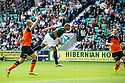 Hibs' Farid el Alagui heads into the net but his effort was ruled offside.