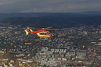 Norwegian Air Ambulance helicopter EC145 over Oslo.