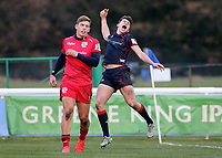 Joe Luca Smith of London Scottish celebrates scoring a try during the Greene King IPA Championship match between London Scottish Football Club and Jersey at Richmond Athletic Ground, Richmond, United Kingdom on 16 December 2017. Photo by Mark Kerton / PRiME Media Images.