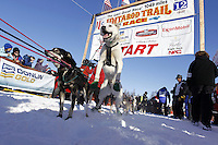 Sunday, March 4, 2012  Gerald Sousa's lead dogs leap in anticipation at the start line during the restart of Iditarod 2012 in Willow, Alaska.