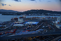 Wellington port industrial area and urban motorway at 7am, Wednesday during Level 4 lockdown for the COVID-19 pandemic in Wellington, New Zealand on Thursday, 19 August 2021.