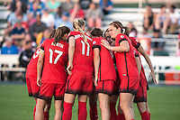 Kansas City, Mo. - Saturday April 23, 2016: Players of Portland Thorns FC huddle before taking on FC Kansas City at Swope Soccer Village. The match ended in a 1-1 draw.