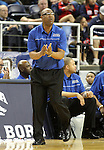 Canyon Springs Head Coach Freddie Banks works the sidelines of the Division I championship game in the NIAA basketball state tournament at Lawlor Events Center, in Reno, Nev., on Friday, Feb. 28, 2014. Bishop Gorman defeated Canyon Springs 71-58. (Cathleen Allison/Las Vegas Review-Journal)