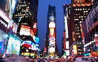 Defocused View of Times Square at Dusk, Midtown Manhattan, New York City, New York State, USA..<br />