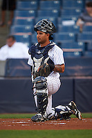 Tampa Yankees catcher Santiago Nessy (19) during a game against the Bradenton Marauders on April 11, 2016 at George M. Steinbrenner Field in Tampa, Florida.  Tampa defeated Bradenton 5-2.  (Mike Janes/Four Seam Images)