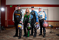 Feb 5, 2020; Pomona, CA, USA; NHRA John Force Racing teammates (from left) Austin Prock, Brittany Force, Robert Hight and John Force pose for a portrait during NHRA Media Day at the Pomona Fairplex. Mandatory Credit: Mark J. Rebilas-USA TODAY Sports