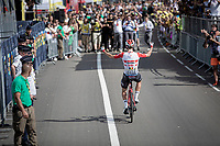 Thomas de Gendt (BEL/Lotto-Soudal) was the first one to break away at km0 and is the first one across the finish in Saint-Étienne<br /> <br /> Stage 8: Mâcon to Saint-Étienne(200km)<br /> 106th Tour de France 2019 (2.UWT)<br /> <br /> ©kramon