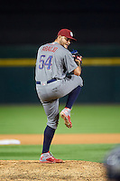 Lehigh Valley IronPigs relief pitcher Elvis Araujo (54) during a game against the Buffalo Bisons on August 29, 2016 at Coca-Cola Field in Buffalo, New York.  Buffalo defeated Lehigh Valley 3-2.  (Mike Janes/Four Seam Images)