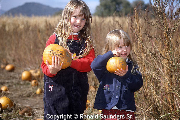 TWO CHILDREN WITH PUMPKINS AT PUMPKIN PATCH EVENT