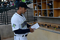 Manager Jose Leger (19) of the Columbia Fireflies before a game against the Augusta GreenJackets on Opening Day, Thursday, April 6, 2017, at Spirit Communications Park in Columbia, South Carolina. Columbia won, 14-7. (Tom Priddy/Four Seam Images)