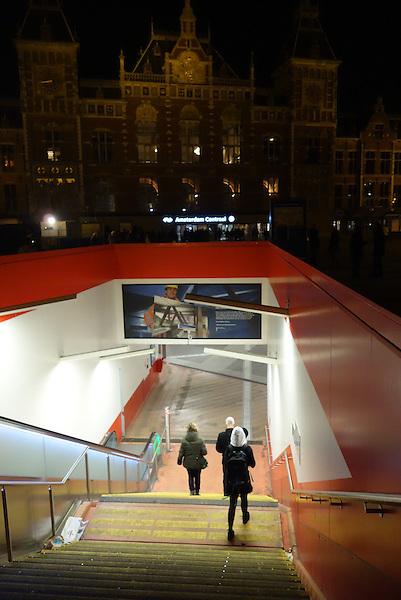 Amsterdam, Holland, Netherlands, Europe 2014, Centraal Station, night, stairways, pedestrians,