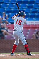 Francisco Plasencia (15) of the Potomac Nationals at bat at Ernie Shore Field in Winston-Salem, NC, Saturday August 9, 2008. (Photo by Brian Westerholt / Four Seam Images)