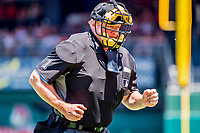 9 July 2017: Major League Baseball Umpire Bruce Dreckman works home plate during a game between the Atlanta Braves and the Washington Nationals at Nationals Park in Washington, DC. The Nationals defeated the Atlanta Braves to split their 4-game series going into the All-Star break. Mandatory Credit: Ed Wolfstein Photo *** RAW (NEF) Image File Available ***