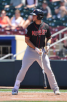 Nashville Sounds Matt Olson (21) bats during the Pacific Coast League game against the Omaha Storm Chasers at Werner Park on June 5, 2016 in Omaha, Nebraska.  Omaha won 6-4.  (Dennis Hubbard/Four Seam Images)