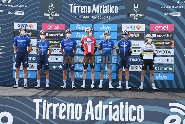 Deceuninck-Quick Step at sign on before the start of Stage 1 of Tirreno-Adriatico Eolo 2021, running 156km from Lido di Camaiore to Lido di Camaiore, Italy. 10th March 2021. <br /> Photo: LaPresse/Gian Mattia D'Alberto | Cyclefile<br /> <br /> All photos usage must carry mandatory copyright credit (© Cyclefile | LaPresse/Gian Mattia D'Alberto)