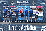 Deceuninck-Quick Step at sign on before the start of Stage 1 of Tirreno-Adriatico Eolo 2021, running 156km from Lido di Camaiore to Lido di Camaiore, Italy. 10th March 2021. <br /> Photo: LaPresse/Gian Mattia D'Alberto   Cyclefile<br /> <br /> All photos usage must carry mandatory copyright credit (© Cyclefile   LaPresse/Gian Mattia D'Alberto)