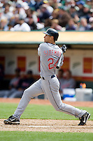 6 April 2008: Indians' #24 Grady Sizemore hits the ball during the Cleveland Indians 2-1 victory over the Oakland Athletics at the McAfee Coliseum in Oakland, CA.
