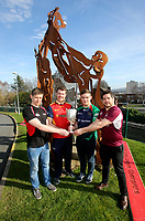 Monday 25th February 2019 | Towns Cup 2019<br /> <br /> Grant Bartley representing Ballyclare RFC, Luke Crozier representing Armagh RFC, Michael Treanor representing Clogher Valley RFC and Ryan Cathcart representing Enniskillen RFC at the River Rock Ulster Towns Cup Semi-Final draw which was held at Kingspan Stadium today. Photo by John Dickson / DICKSONDIGITAL