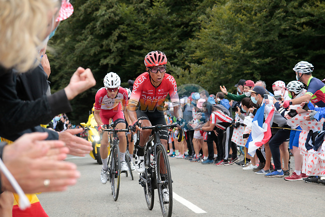 Nairo Quintana (COL) Arkea-Samsic and Guillaume Martin (FRA) Cofidis climb Col de Marie Blanque during Stage 9 of Tour de France 2020, running 153km from Pau to Laruns, France. 6th September 2020. <br /> Picture: Colin Flockton | Cyclefile<br /> All photos usage must carry mandatory copyright credit (© Cyclefile | Colin Flockton)