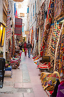 Essaouira, Morocco.  Carpets, Rugs, and Textiles for Sale.