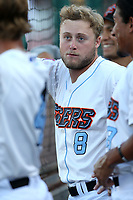 Brennon Lund (8) of the Inland Empire 66ers in the dugout during a game against the Rancho Cucamonga Quakes at San Manuel Stadium on July 29, 2017 in San Bernardino, California. Inland Empire defeated Rancho Cucamonga, 6-4. (Larry Goren/Four Seam Images)