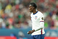 DENVER, CO - JUNE 6: Tim Weah #21 of the United States during a game between Mexico and USMNT at Mile High on June 6, 2021 in Denver, Colorado.