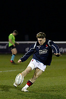Rory Brand of London Scottish warms up during the Greene King IPA Championship match between London Scottish Football Club and Nottingham Rugby at Richmond Athletic Ground, Richmond, United Kingdom on 7 February 2020. Photo by Carlton Myrie.